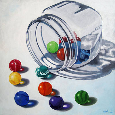 Marbles And Glass Jar Still Life Painting Art Print by Linda Apple