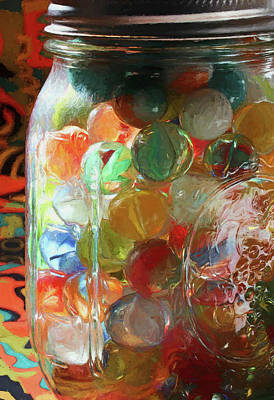 Photograph - Marbles In A Jar 2 Painterly by Mary Bedy