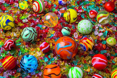 Photograph - Marbles On Crushed Glass by Garry Gay