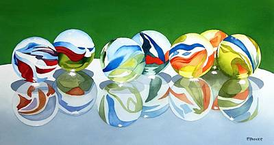 Marble Eyes Painting - Marbles On Glass by Richard Rooker