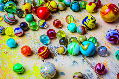 Photograph - Marbles On Old Table by Garry Gay