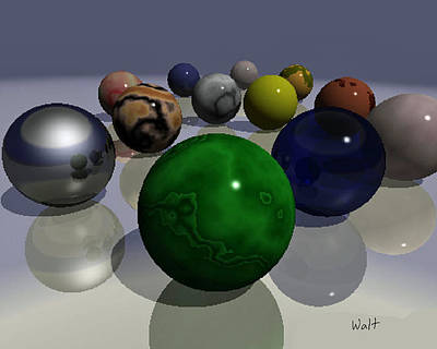 Art Print featuring the digital art Marbles by Walter Chamberlain
