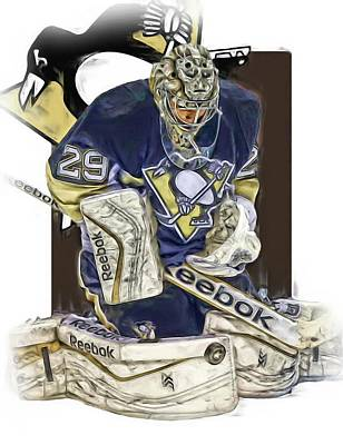 Mixed Media - Marc Andre Fleury Pittsburgh Penguins Oil Art by Joe Hamilton