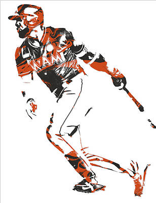 Mixed Media - Marcell Ozuna Miami Marlins Pixel Art 1 by Joe Hamilton