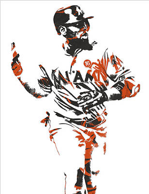 Mixed Media - Marcell Ozuna Miami Marlins Pixel Art 2 by Joe Hamilton