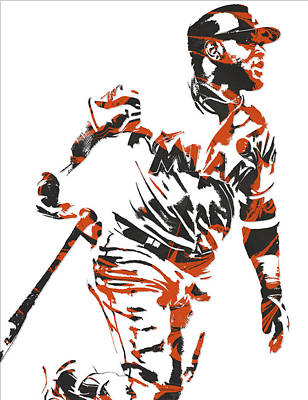 Miami Mixed Media - Marcell Ozuna Miami Marlins Pixel Art 3 by Joe Hamilton