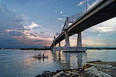 Marcelo Photograph - Marcelo Fernan Bridge Sunset by Darren Galpin