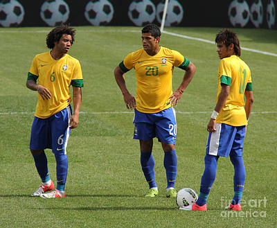 Marcelo Photograph - Marcelo Hulk And Neymar by Lee Dos Santos