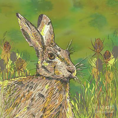 Digital Art - Summer Hare by Lotti Brown