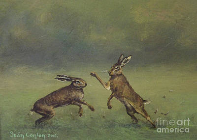 March Hare Painting - March Hares by Sean Conlon