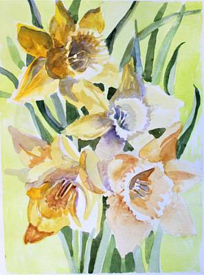 Daffodils Painting - March Of Daffodils by Mindy Newman