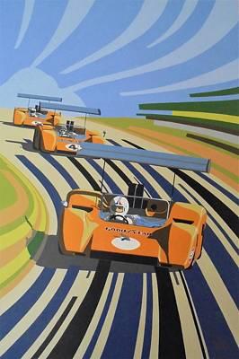 Motorsport Painting - March Of The Orange Elephants by Kieran Roberts