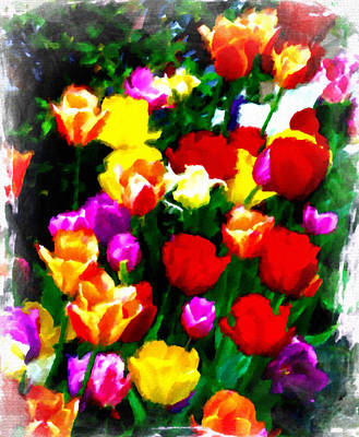 Mixed Media - March Of The Tulips by Femina Photo Art By Maggie
