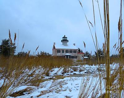 Photograph - March Snow At East Point Lighthouse by Nancy Patterson