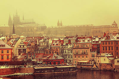 Photograph - March Snowfall. Old Prague. Vintage by Jenny Rainbow