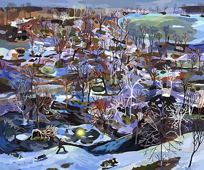 Moon Night Dark Dog Painting - March by Sophia Heymans