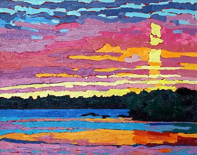 Painting - March Sunset Ice On Fire by Phil Chadwick