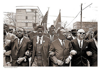 Civil Liberties Mixed Media - March Through Selma by Greg Joens