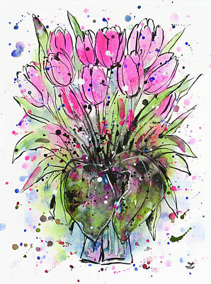 Painting - March Tulips by Zaira Dzhaubaeva