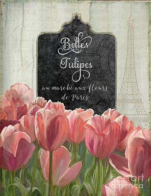 Pink Fence Painting - Marche Aux Fleurs 2 - Belle Tulipes by Audrey Jeanne Roberts