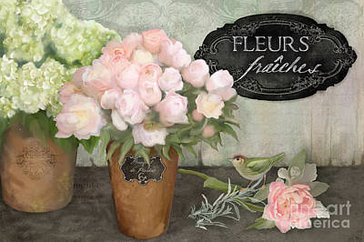 Hand Painted Painting - Marche Aux Fleurs 2 - Peonies N Hydrangeas W Bird by Audrey Jeanne Roberts