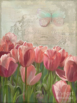 Pink Fence Painting - Marche Aux Fleurs 3 - Butterfly N Tulips by Audrey Jeanne Roberts