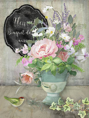 Marche Aux Fleurs 3 Peony Tulips Sweet Peas Lavender And Bird Art Print