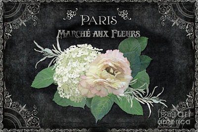 Slate Painting - Marche Aux Fleurs 4 Vintage Style Typography Art by Audrey Jeanne Roberts