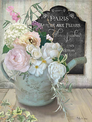 Paris Market Painting - Marche Paris Fleur Vintage Watering Can With Peonies by Audrey Jeanne Roberts