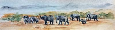 Painting - Marching Elephants by Ellen Canfield