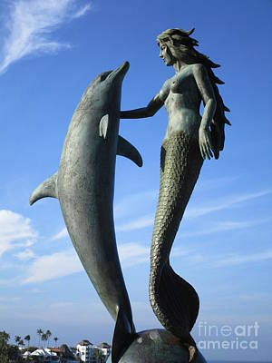 Of Mermaid Photograph - Marco Riveros The Mermaid And Dolphin by Randall Weidner