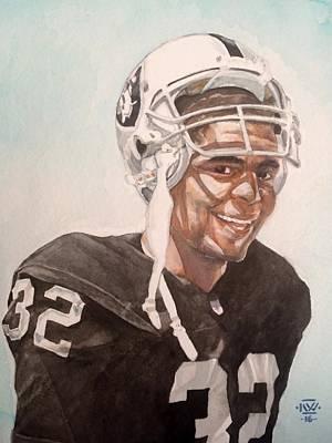 Oakland Raiders Painting - Marcus Allen by Nigel Wynter