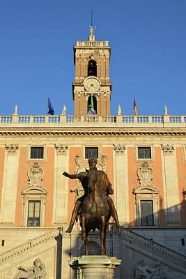 Photograph - Marcus Aurelius Equestrian Statue Sunset In Piazza Del Campidoglio Capitoline Museum Rome Italy by Shawn O'Brien