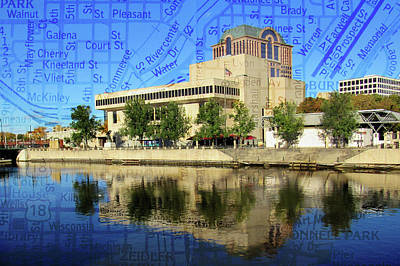 Photograph - Marcus Center River Reflection W Map by Anita Burgermeister