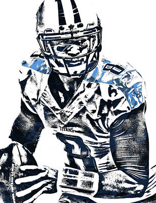 Mixed Media - Marcus Mariota Tennessee Titans Pixel Art 3 by Joe Hamilton