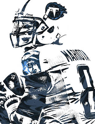 Mixed Media - Marcus Mariota Tennessee Titans Pixel Art by Joe Hamilton