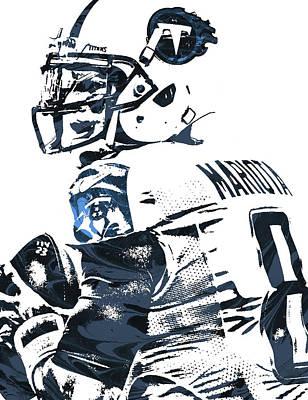Art Print featuring the mixed media Marcus Mariota Tennessee Titans Pixel Art by Joe Hamilton