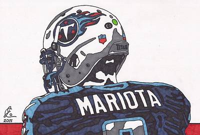 Quarterbacks Drawing - Marcus Mariota Titans 2 by Jeremiah Colley