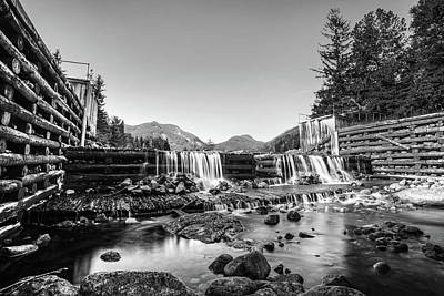 Photograph - Marcy Dam Waterfall In The Adirondacks North Elba Black And White by Toby McGuire