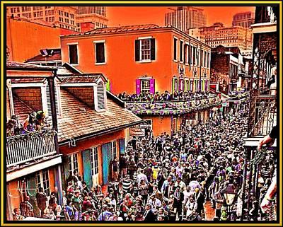 Mardi Drawing - Mardi Gras - Bourbon Street by AJ  Modiest