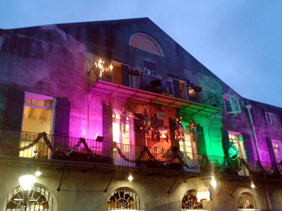 Photograph - Mardi Gras 2018 Balcony Illunination by Michael Hoard