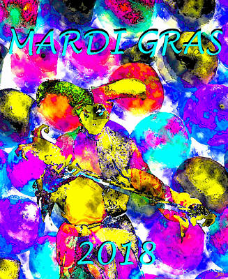 Painting - Mardi Gras 2018 Poster Art by David Lee Thompson