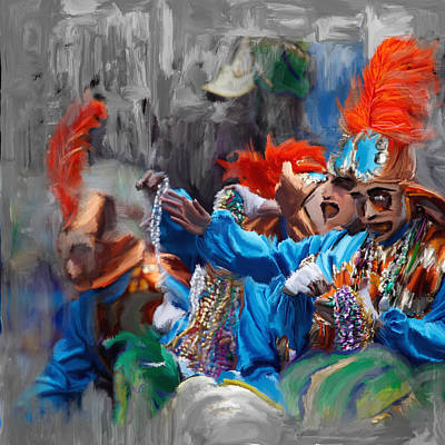New Orleans Oil Painting - Mardi Gras 242  by Mawra Tahreem
