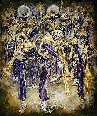 Painting - Mardi Gras Bands by Charles Simms