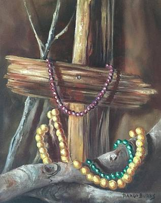 Art Print featuring the painting Mardi Gras Beads And Hurricane Katrina by Randol Burns