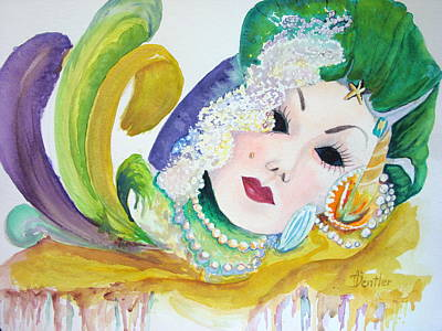 Art Print featuring the painting Mardi Gras Elegance by AnnE Dentler