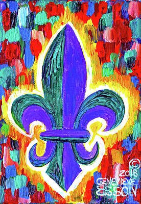 Royalty-Free and Rights-Managed Images - Mardi Gras Fleur De Lys by Genevieve Esson