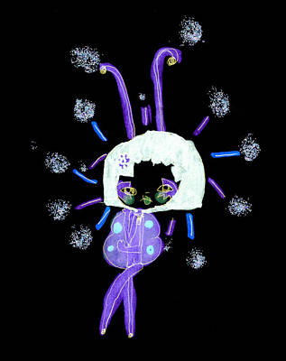 Animation Drawing - Mardi Gras Gal 1 At Night by Pamela Paris Collman