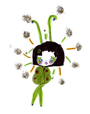 Animation Drawing - Mardi Gras Gal 1 by Pamela Paris Collman