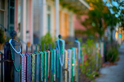 Creole Cottage Wall Art - Photograph - Mardi Gras Gold - Beads On Parade Route by Bruce Barielle